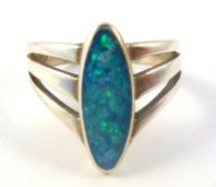 Triple Banded Sterling Silver Opal Slice Ring